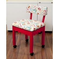 7016W Red Chair White Scallop